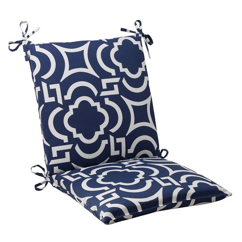 "36.5"" Geometric Navy Blue Sky Outdoor Squared Patio Chair Cushion with Ties - IMAGE 1"