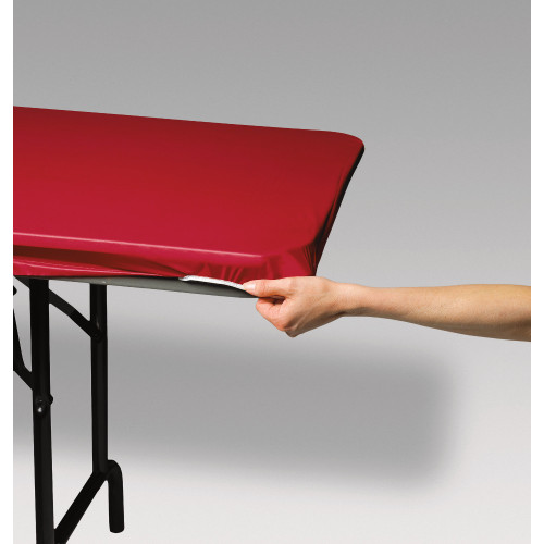 """Club Pack of 12 Red Solid Stay Put Rectangular Disposable Plastic Picnic Party Table Covers 72"""" - IMAGE 1"""