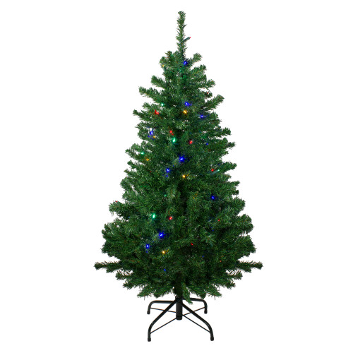 4' Pre-Lit Mixed Classic Pine Medium Artificial Christmas Tree - Multi LED Lights - IMAGE 1