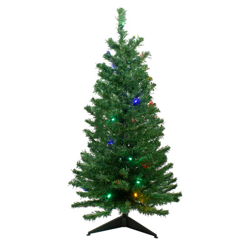 3' Pre-Lit Medium Mixed Classic Pine Artificial Christmas Tree - Multicolor LED Lights - IMAGE 1