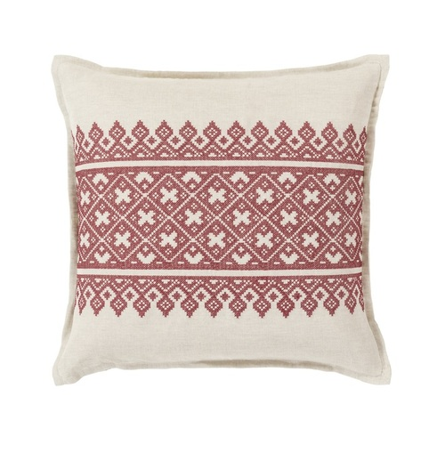 "20"" Red and White Traditional Woven Decorative Throw Pillow - Down Filler - IMAGE 1"