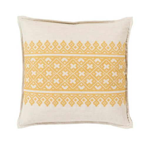 "22"" Yellow and White Traditional Woven Decorative Throw Pillow - Down Filler - IMAGE 1"