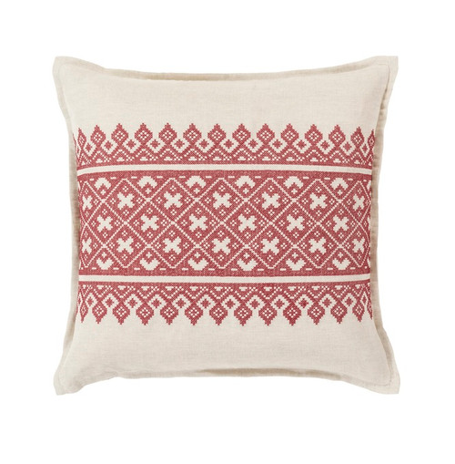 "22"" Red and White Traditional Woven Decorative Throw Pillow - Down Filler - IMAGE 1"