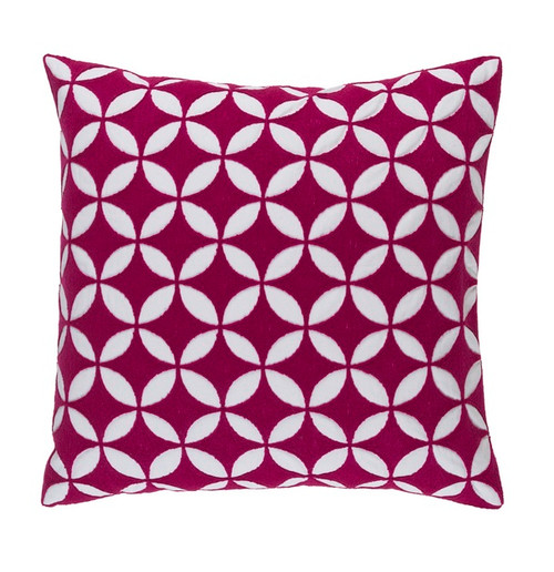 """18"""" Pink and White Machine Embroidered Square Contemporary Throw Pillow - Down Filler - IMAGE 1"""