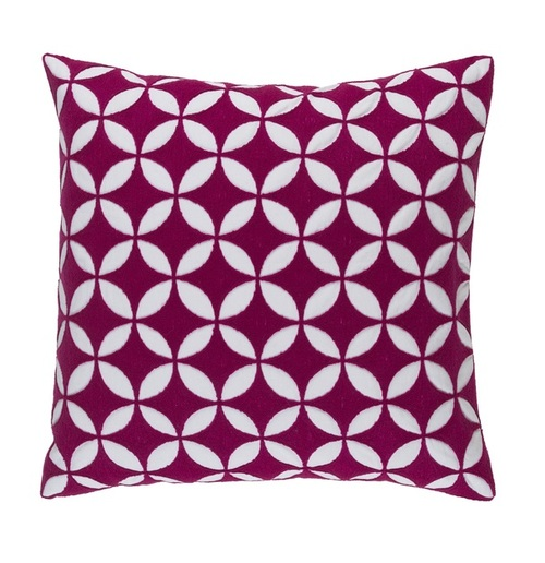 "22"" Purple and White Woven Square Throw Pillow - IMAGE 1"