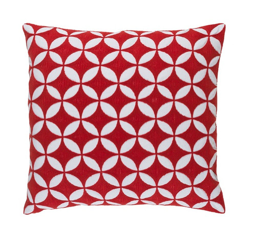 """22"""" Red and White Machine Embroidered Square Contemporary Throw Pillow - Down Filler - IMAGE 1"""
