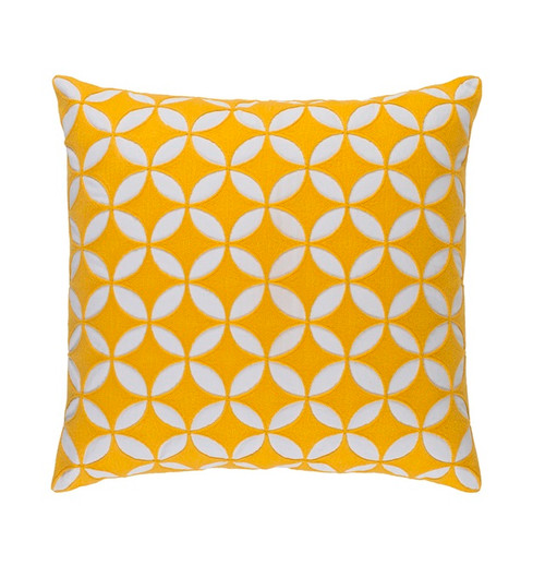 "22"" Dandelion Yellow and White Woven Square Throw Pillow - Down Filler - IMAGE 1"