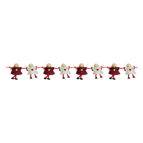 """4"""" x 26"""" Red and Beige Angel Dolls Christmas Garland - Unlit - IMAGE 1"""