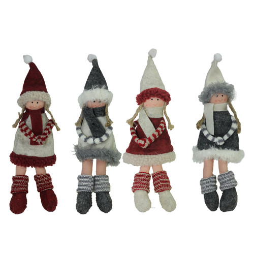 "4ct Red and Gray Girls with Scarves Christmas Doll Ornaments 12"" - IMAGE 1"