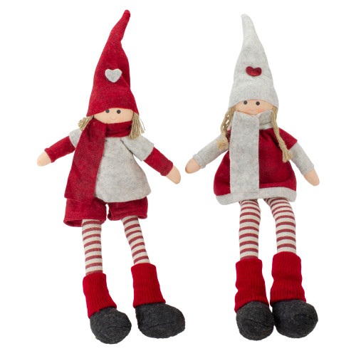 """Set of 2 Plush Red and Beige Boy and Girl Sitting Christmas Doll Decorations 19"""" - IMAGE 1"""