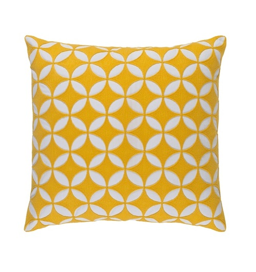 "20"" Dandelion Yellow and White Woven Square Throw Pillow - Down Filler - IMAGE 1"