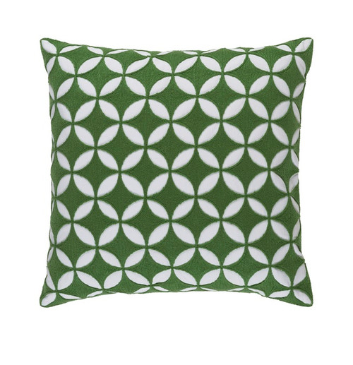 "22"" Jungle Green and White Woven Square Throw Pillow - Down Filler - IMAGE 1"