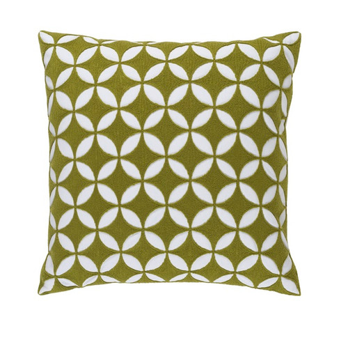 """18"""" Juniper Green and White Woven Square Throw Pillow - Down Filler - IMAGE 1"""