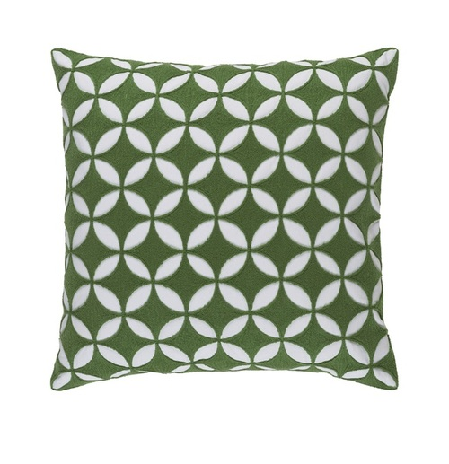 "20"" Jungle Green and White Woven Square Throw Pillow - Down Filler - IMAGE 1"