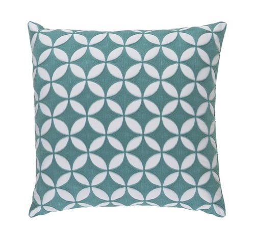 """18"""" Teal Blue and White Geometrical Woven Decorative Throw Pillow –Down Filler - IMAGE 1"""