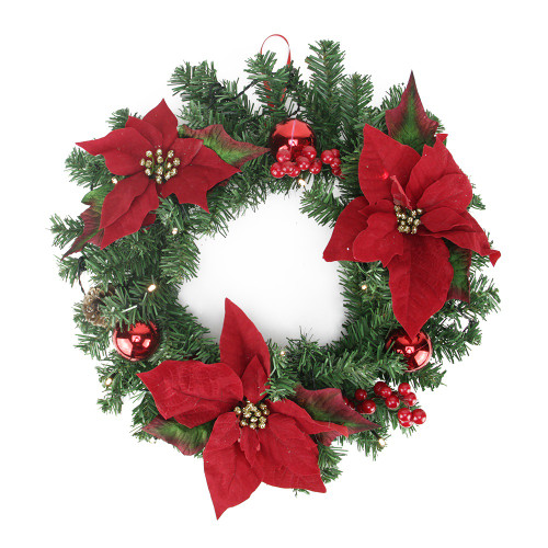 """16"""" Pre-Decorated Lighted Artificial Pine and Poinsettia Christmas Wreath - Warm White LED Lights - IMAGE 1"""