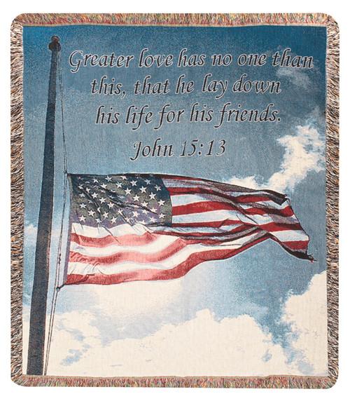 "Blue American Flag John Tapestry Throw Blanket 50"" x 60"" - IMAGE 1"