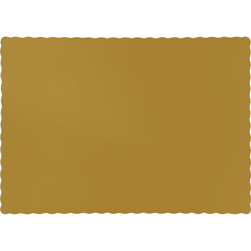"Club Pack of 600 Gold Solid Disposable Table Placemats 13.5"" - IMAGE 1"