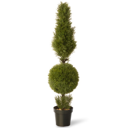 60 Green Artificial Juniper Cone and Ball Topiary Tree with Round Pot - IMAGE 1