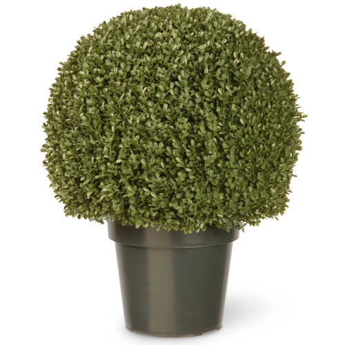 "22"" Green Artificial Boxwood Ball Tree with Round Weighted Pot - IMAGE 1"