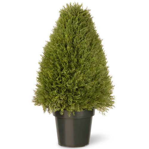 "30"" Green Artificial Potted Rounded Triangular Juniper Topiary Tree - IMAGE 1"