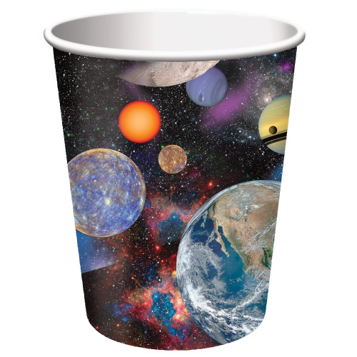 Club Pack of 96 Blue and Orange Space Blast Disposable Paper Drinking Party Tumbler Cups 9 oz. - IMAGE 1