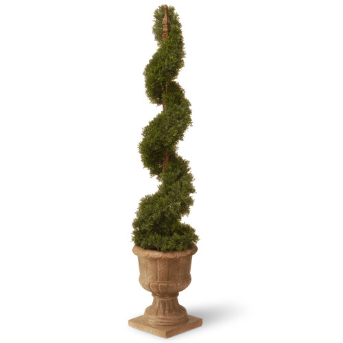 48 Artificial Two-Tone Green Cedar Spiral Tree with Urn Style Pot - IMAGE 1