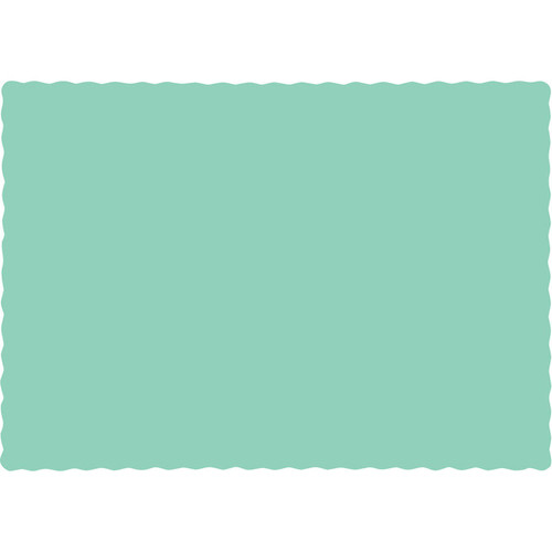 """Club Pack of 600 Mint Green Bordered Heavy-Duty Placemats 13.5"""" - IMAGE 1"""