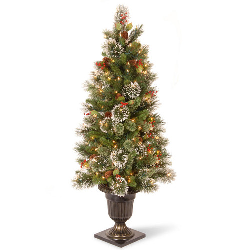 4' Pre-lit Potted Wintry Pine Entrance Artificial Christmas Tree – Clear Lights - IMAGE 1