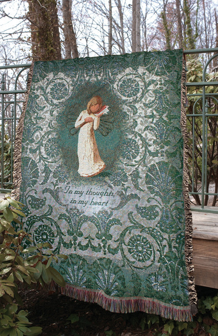 "Green and White Willow Tree Angel Thinking of You Tapestry Throw Blanket 50"" x 60"" - IMAGE 1"