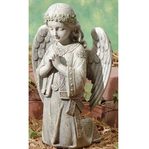 "Set of 2 Gray Kneeling Irish Angel Garden Statues 12.25"" - IMAGE 1"