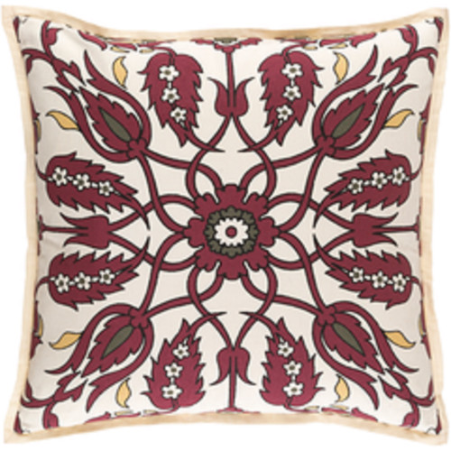 """18"""" Red and White Floral Square Throw Pillow - Down Filler - IMAGE 1"""