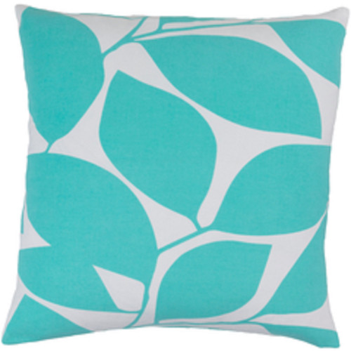 """18"""" Lavish Leaves Mint Green and White Decorative Throw Pillow - Polyester Filled - IMAGE 1"""