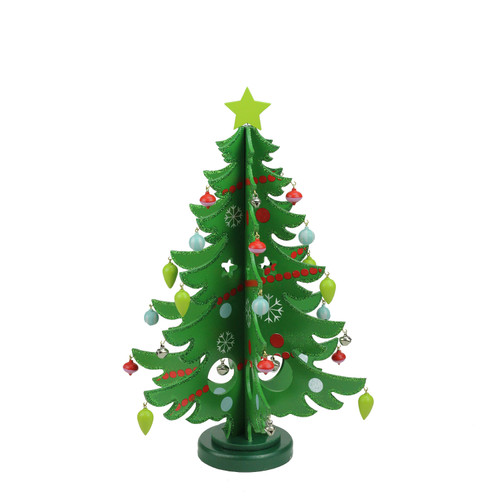 "13.75"" Green Christmas Tree Cut Out With Ornaments Table Top Decor - IMAGE 1"