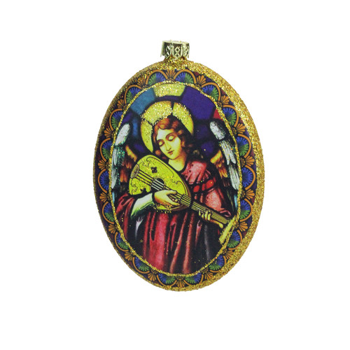 """4.75"""" Glitter Accented Angel Religious Decorative Christmas Disc Ornament - IMAGE 1"""