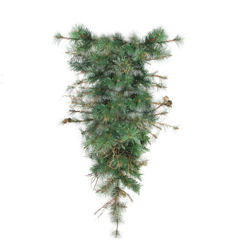 """36"""" Green Country Mixed Pine Artificial Christmas Teardrop Swag - Unlit - IMAGE 1"""