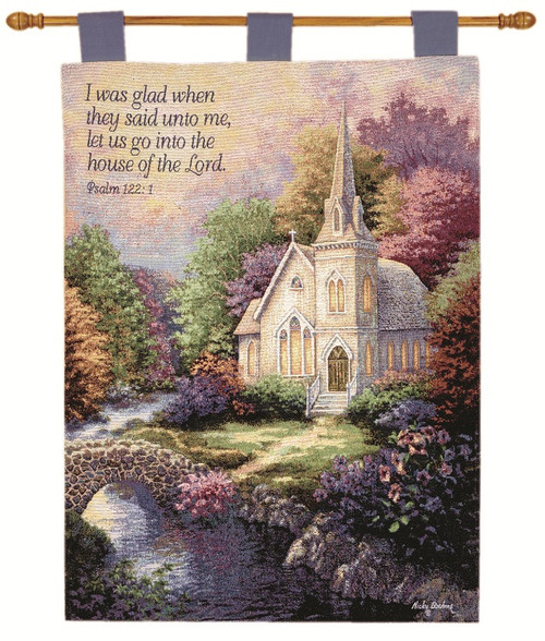 """Cream White and Green Tranquil Church Religious Wall Art Hanging Tapestry 36"""" x 26"""" - IMAGE 1"""