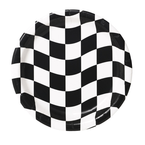 "Club Pack of 96 Black and White Checkered Disposable Paper Party Dinner Plates 9"" - IMAGE 1"