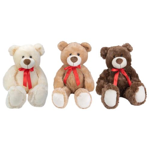 "Set of 3 Brown and Cream Plush Children's Teddy Bear Stuffed Animal Toys 20"" - IMAGE 1"