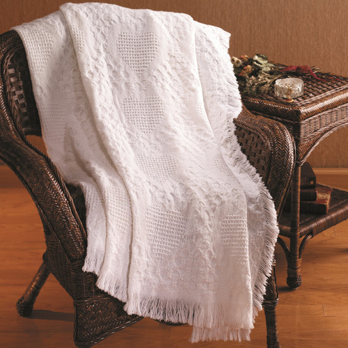 "White Heart Motif Textured Basket Weave Fringed Throw Blanket 46"" x 60"" - IMAGE 1"