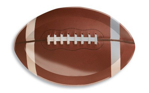 """Club Pack of 12 Brown and White Football Shaped Tailgate Party Snack Trays 17"""" - IMAGE 1"""
