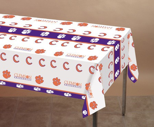 Club Pack of 12 White and Orange NCAA Clemson Tigers Tailgating Banquet Table Cloths 9' - IMAGE 1