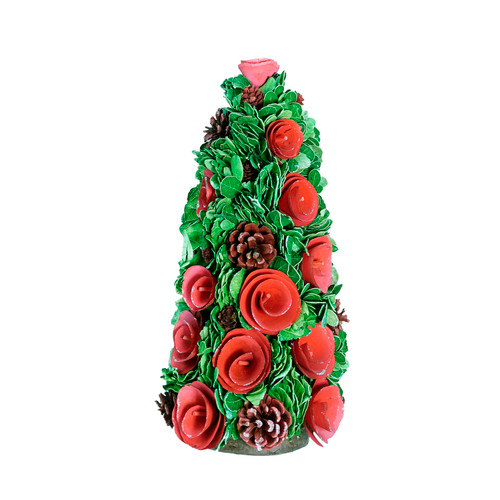 """15.75"""" Red and Green Contemporary Flower Christmas Tree Decor - IMAGE 1"""