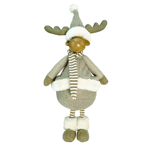 """24.75"""" Gray and Beige Standing Moose Christmas Table Top Figure - IMAGE 1"""