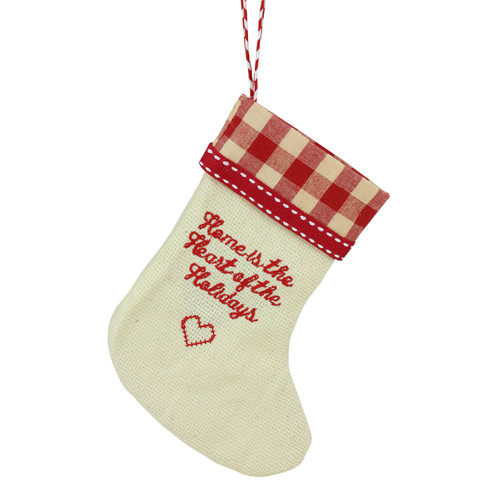 """6.5"""" Tan and Red Embroidered Heart Stocking with Gingham Cuff Christmas Ornament - IMAGE 1"""