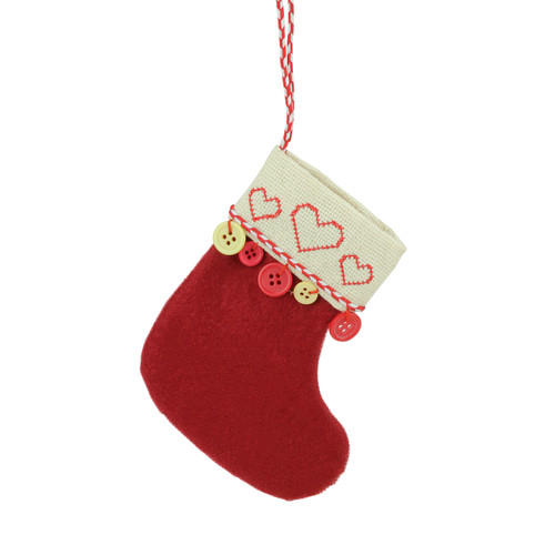 """6.5"""" Red and Tan Embroidered Hearts and Buttons Christmas Stocking Ornament - IMAGE 1"""