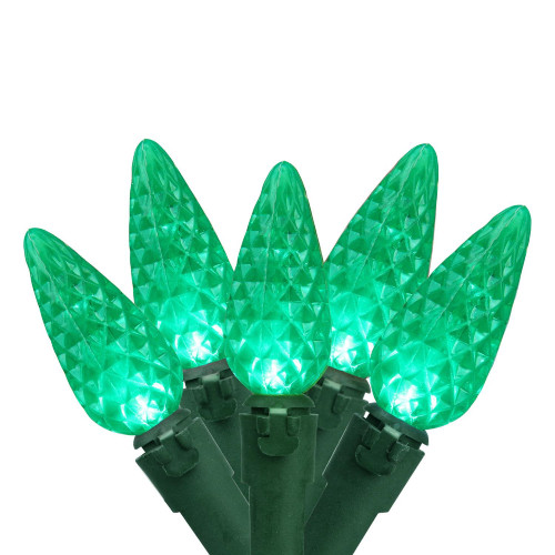 """Set of 70 Green Faceted LED C6 Christmas Lights 4"""" Bulb Spacing - Green Wire - IMAGE 1"""