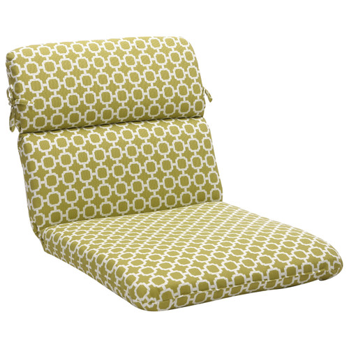 """40.5"""" Green and White Geometric Outdoor Patio Rounded Corner Chair Cushions - IMAGE 1"""