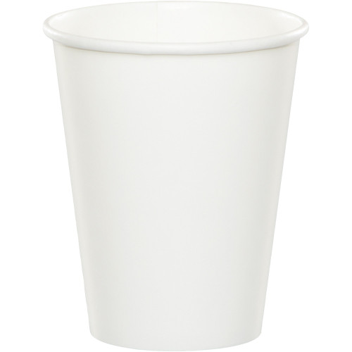 Club Pack of 240 White Disposable Paper Hot and Cold Drinking Party Tumbler Cups 9 oz. - IMAGE 1