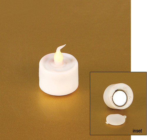"Pack of 12 White Battery Operated Flameless LED Flickering Tea Light Candles 1"" - IMAGE 1"